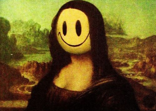 BANKSY - MONA LISA SMILEY canvas print - self adhesive poster - photo print